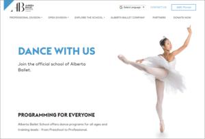 Alberta School of Ballet website screenshot