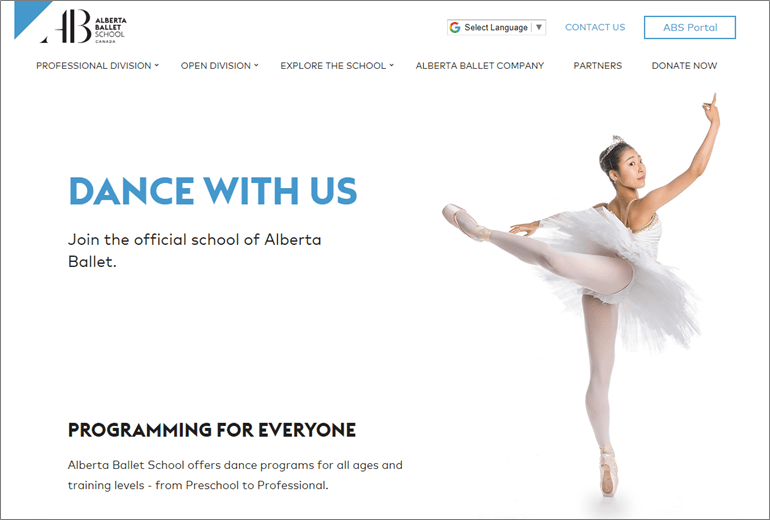 Alberta School of Ballet website launched