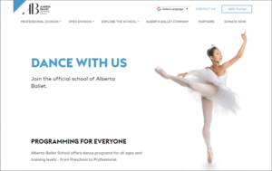 Alberta School of Ballet website screenshot