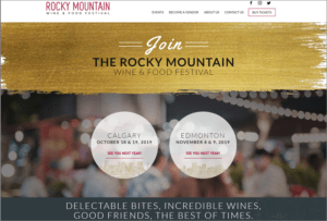 Rocky Mountain Wine and Food Festival website screenshot